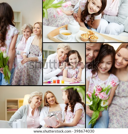 Little girl congratulating her grandma and mother with Mothers Day - stock photo