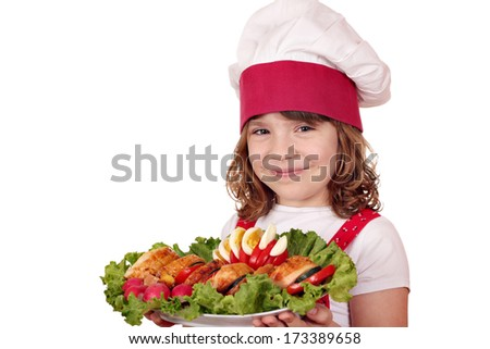 little girl cook with gourmet food portrait