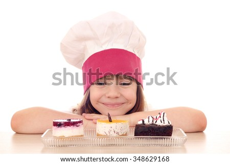 little girl cook with sweet cakes - stock photo