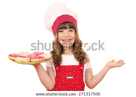 little girl cook with sweet donuts - stock photo
