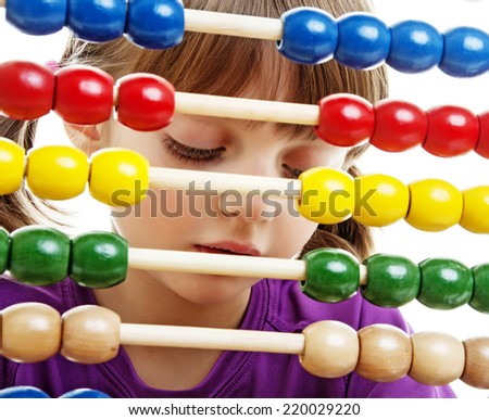 little girl counting - stock photo