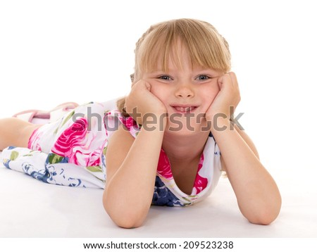 little girl covers her head.Isolated The concept of childhood and child development - stock photo