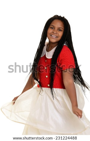 little girl dancing in party dress - stock photo