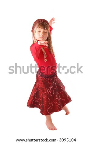 Little girl dancing isolated on white background