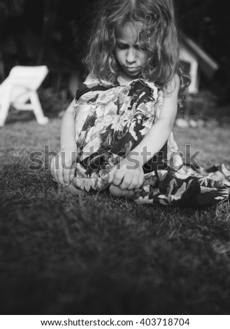 little girl , depression sadness - stock photo