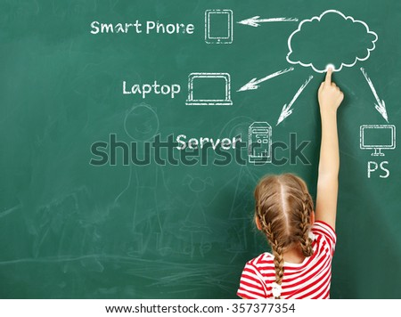 Little girl drawing cloud network on the chalkboard - stock photo