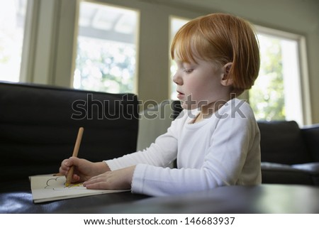 Little girl drawing in book at home