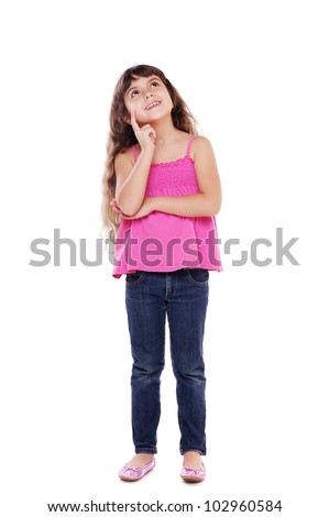 Little girl dreaming - full length portrait - stock photo