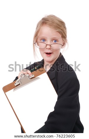 Little girl dressed as a business woman - stock photo