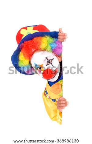 little girl dressed as a clown isolated in white