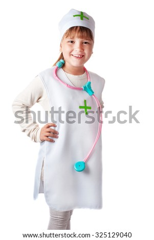 Little girl dressed as a doctor on an isolated background