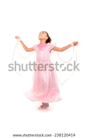 little girl dressed as a princess isolated in white