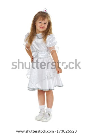 Little girl dressed as princess.isolated on white
