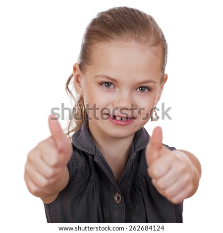 Little girl dressed in blue is showing thumb up gesture using both hands, isolated over white - stock photo