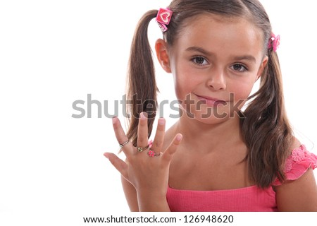 Little girl dressed in pink - stock photo