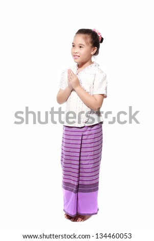 little girl dressing with thai traditional style