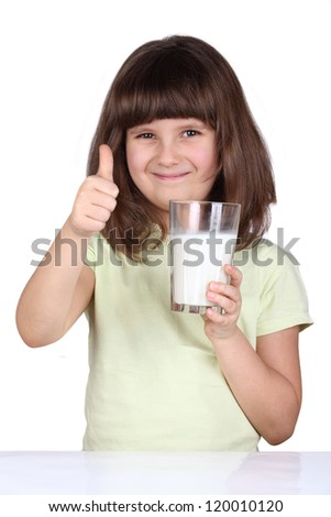 Little girl drinking milk, milk is good - stock photo