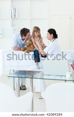 Little girl during a medical visit in the hospital