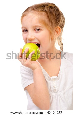 little girl eating apple isolated on a white background