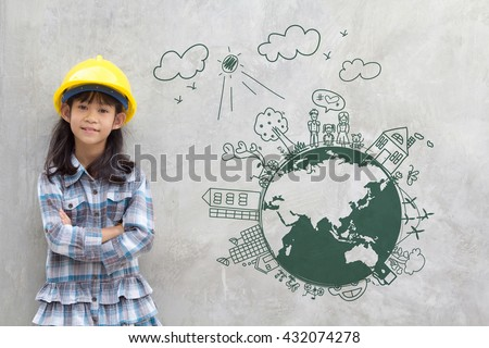 Little girl engineering with creative drawing on world map environment with happy family, eco friendly, save energy, against a brick wall - stock photo