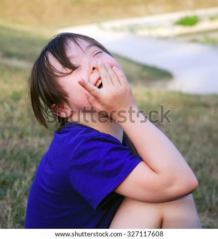 Little girl enjoy in the park - stock photo