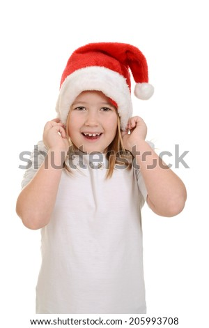 little girl excited about Christmas - stock photo
