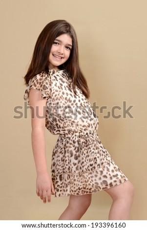 little girl fashion model - stock photo