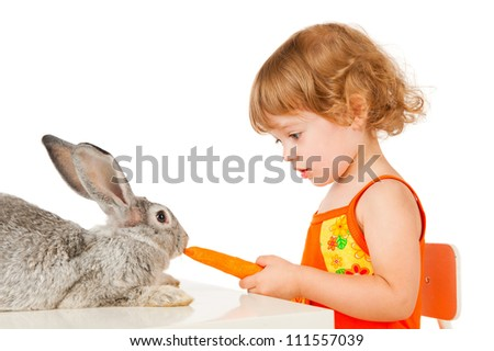 Little girl feeding rabbits carrots