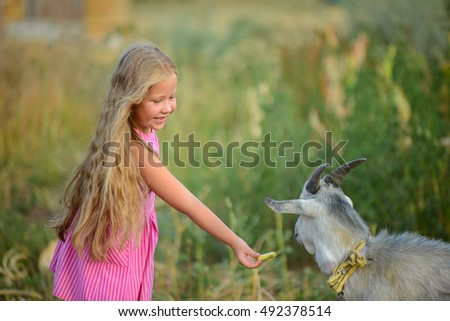 Little girl feeds a goat in the village