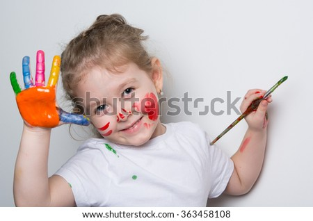 little girl funny with bright colors