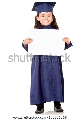 Little girl graduating and holding diploma � isolated over white - stock photo
