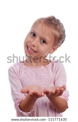 Little Girl Hand Open - stock photo