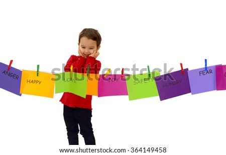 Little girl hanging her feelings on a rope - stock photo