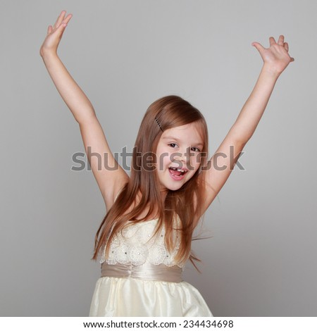 Little girl have a fun - stock photo