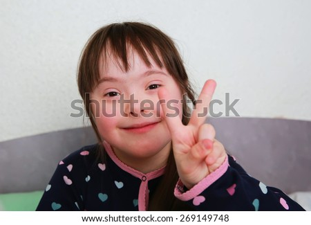Little girl have fun at home - stock photo