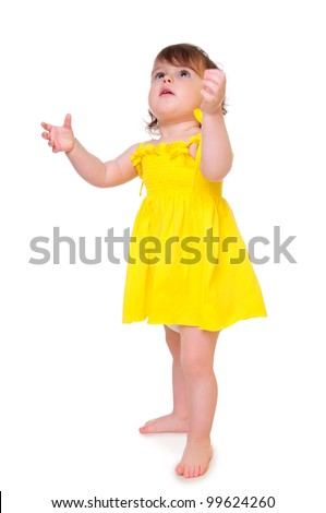 little girl held out her hands up. playful toddler. isolated on a white background - stock photo