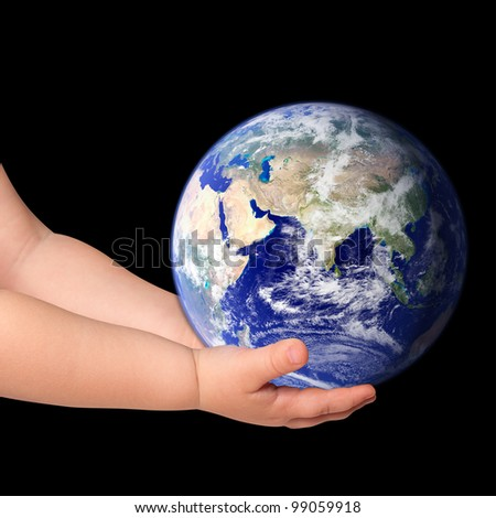 Little girl hold globe on black (Elements of this image furnished by NASA) - stock photo