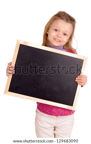 little girl holding a blackboard - stock photo