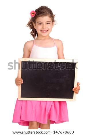 little girl holding a blackboard isolated in white - stock photo