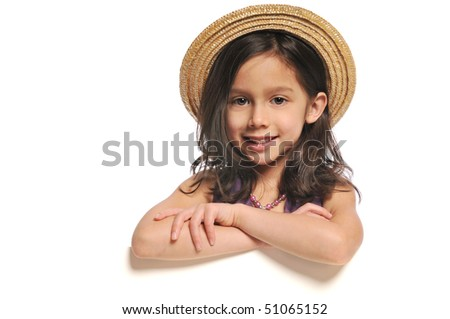 Little girl holding a blank sign isolated on a white background