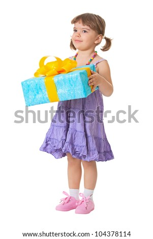 Little girl holding a gift - birthday isolated on white background - stock photo