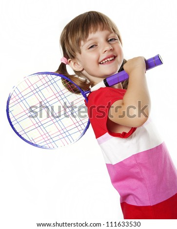 little girl holding a tennis racket - white background - stock photo