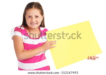 Little girl holding blank yellow banner