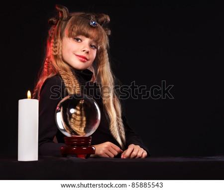 Little girl holding crystal ball.Series. - stock photo