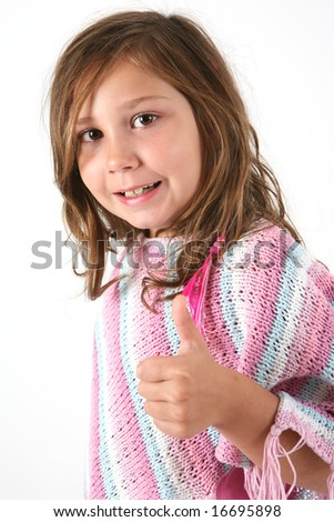 little girl holding her thumbs up