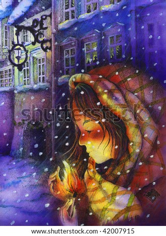 little girl holding match stick during a cold night - my creation (author Agata Dorobek) - stock photo