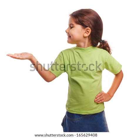 little girl holding open palm empty hand emotion isolated on white background - stock photo