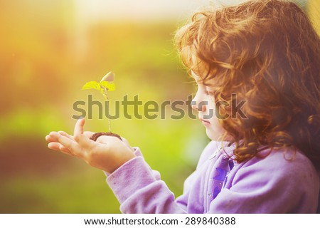 Little girl holding young plant in spring outdoors. Ecology concept. Background toning to instagram filter. - stock photo