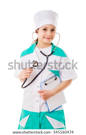 Little girl in a doctor costume with stethoscope in hand, isolated on white