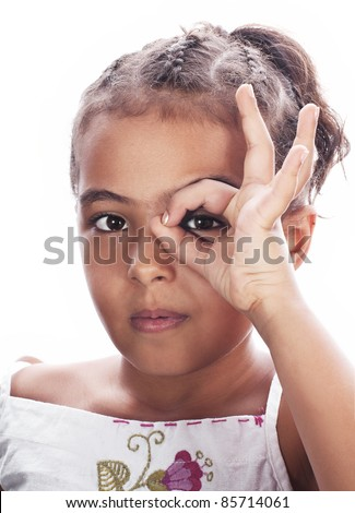 Little girl in a funny style, isolated on white - stock photo